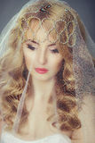 Beautiful young bride with blond hair Stock Images