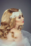 Beautiful young bride with blond hair Royalty Free Stock Images