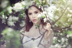 Beautiful young bride in a blooming garden royalty free stock photography