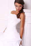 Beautiful young bride with dark hair in elegant dress Royalty Free Stock Photo