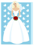 Beautiful young bride in fashion wedding dress. Beautiful young bride in a fashion white wedding dress with a bouquet of red roses on cute blue background Stock Photography
