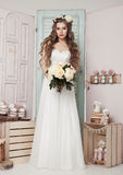 Beautiful young bride with flowers  romantic decoration Stock Image