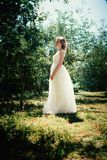 Beautiful young bride in the garden background royalty free stock photography