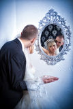 Beautiful young bride and groom Stock Images