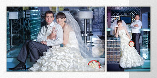 Beautiful young bride and groom next to bar Royalty Free Stock Photos