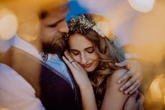 Beautiful bride and groom on a meadow at night. Stock Images