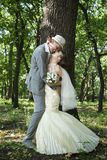 Beautiful young bride and groom royalty free stock photos