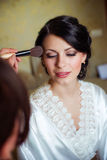 Beautiful young bride at home Royalty Free Stock Images