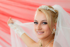 Beautiful young bride keep the veil. Stock Photo