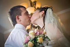 Beautiful young bride kissing groom Stock Photography