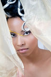 Beautiful young bride looking through veil royalty free stock image