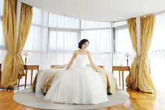 Beautiful bride in luxury hotel room Royalty Free Stock Photos
