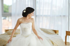 Beautiful bride in luxury hotel room Royalty Free Stock Photo