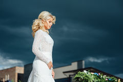 Beautiful young bride in luxury wedding dress Royalty Free Stock Photography