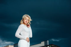 Beautiful young bride in luxury wedding dress Royalty Free Stock Photos