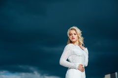 Beautiful young bride in luxury wedding dress Royalty Free Stock Image