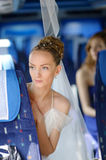Beautiful young bride portrait in a bus Royalty Free Stock Photos