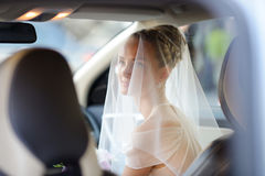 Beautiful young bride portrait in a car Stock Photos