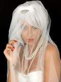 Beautiful Young Bride Portrait Looking Through Veil Stock Images