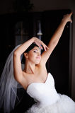Beautiful young  bride posing at home. Royalty Free Stock Image