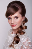 Beautiful young bride with retro hairstyle Royalty Free Stock Photos