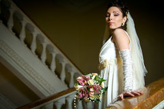 Free Beautiful Young Bride Standing On A Stairway Royalty Free Stock Photo - 17831325