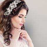Beautiful Young Bride. Stylish Woman Fiancee. With Bridal Hairstyle, Event Makeup and Jewelry Stock Photos
