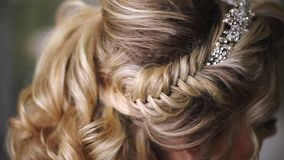 Beautiful Young Bride. Stylish Woman Fiancee with Bridal Hairstyle, Event Makeup and Jewelry stock video