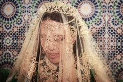 Beautiful young bride in a traditionall Moroccan attire. Royalty Free Stock Photo