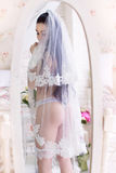 Beautiful young bride in the veil, and with garter stands in fro Stock Images