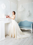 Beautiful young bride in vintage wedding dress Royalty Free Stock Photo
