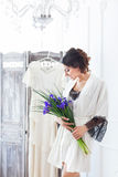 Beautiful young bride with a wedding bouquet Royalty Free Stock Photography