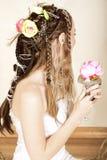 Beautiful young bride in wedding dress stock photos