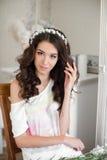 Beautiful young bride wedding makeup and hairstyle Stock Photos