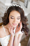 Beautiful young bride wedding makeup and hairstyle Royalty Free Stock Photo