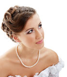 Beautiful young bride in white Stock Photo