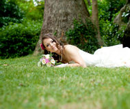 Beautiful young bride in a white dress Royalty Free Stock Photo