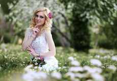 Beautiful young bride in white dress sits field in summer green park Stock Image