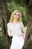 Beautiful young bride in white dress sits on tree in summer green park Royalty Free Stock Image