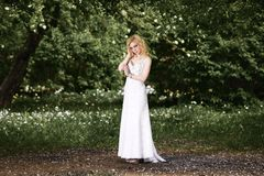 Beautiful young bride in white dress in summer green park Stock Image