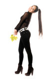 Beautiful young brunette in a black pants Stock Photos