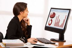 Beautiful young brunette business woman work in her office.  Stock Images