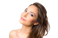 Beautiful young brunette in colorful makeup. Royalty Free Stock Photos