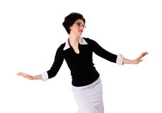 Beautiful young brunette dancing. To the tunes isolated on a white background royalty free stock image