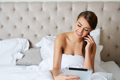 Beautiful young brunette doing some late night Stock Photos