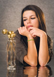 Beautiful young brunette with festive decor. Royalty Free Stock Photography