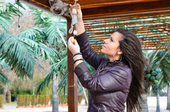 Beautiful young    brunette fixing outdoor decoration on tropical beach Royalty Free Stock Image