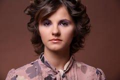 Beautiful young brunette girl. Fashion portrait of beautiful young brunette girl Stock Images