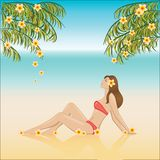Girl relaxing on a beach Stock Photo