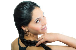 Beautiful young brunette girl with braided hair Royalty Free Stock Photos
